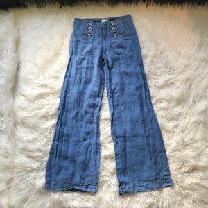 GIDRA BLUE LINEN SAILOR WIDE LEG TROUSER PANTS